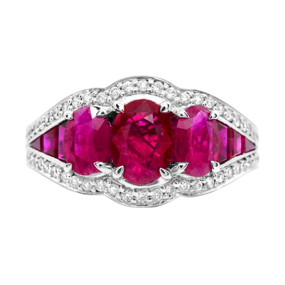 Oval Ruby With Diamond and Baguette Ruby Ring in 14K White Gold - For The Love of Jewelry