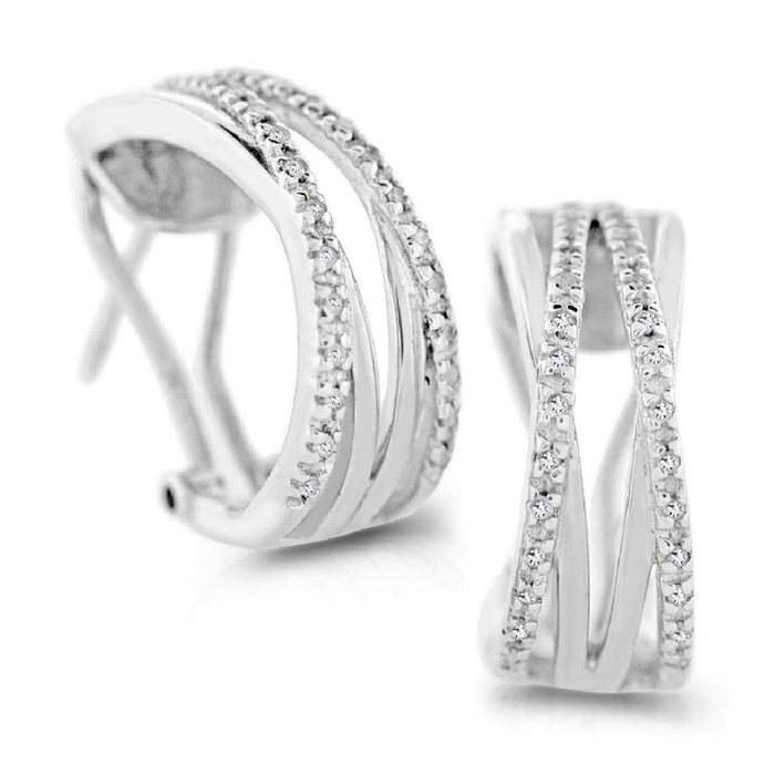 Diamond Earrings in Sterling Silver - For The Love of Jewelry