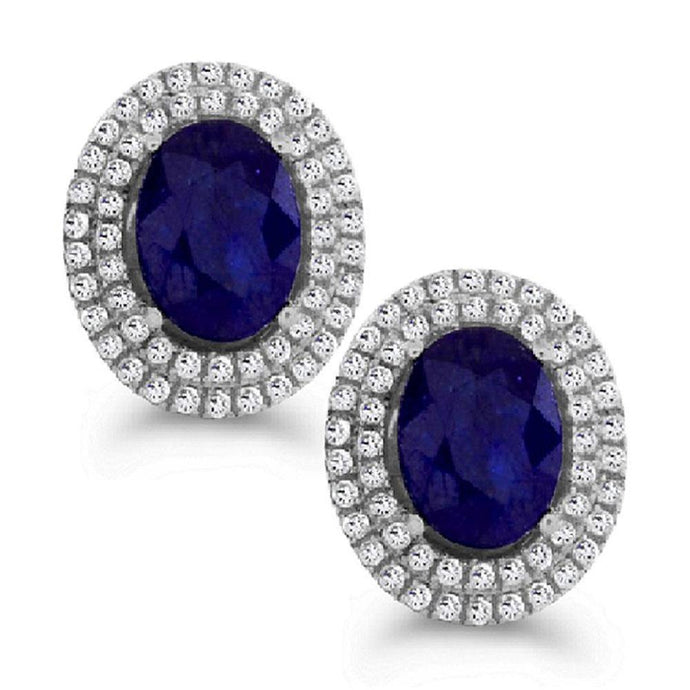Oval Kanchanaburi Sapphire with White Zircon Halo Stud Earrings in Sterling Silver - For The Love of Jewelry