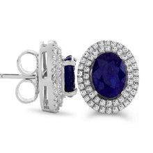 Load image into Gallery viewer, Oval Kanchanaburi Sapphire with White Zircon Halo Stud Earrings in Sterling Silver - For The Love of Jewelry