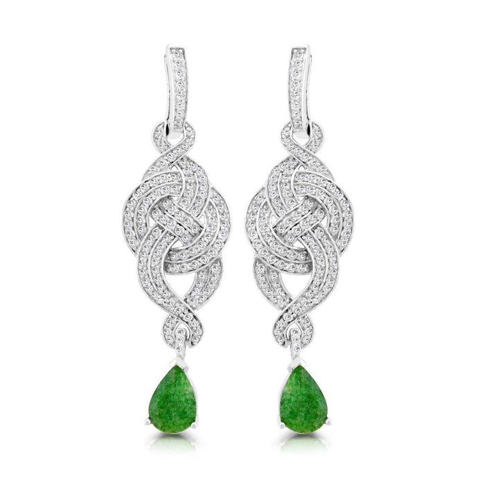 Pear Emerald with Diamond and White Topaz Drop Earrings in Sterling Silver - For The Love of Jewelry