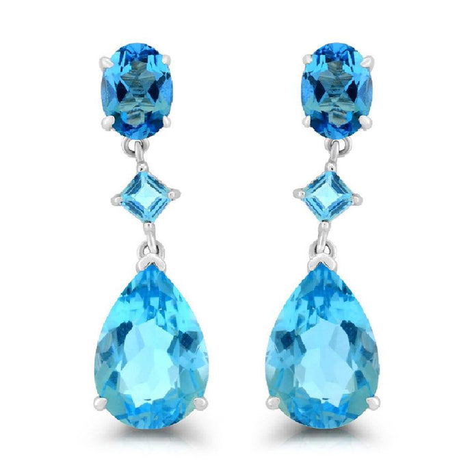 Swiss and Sky Blue Topaz Dangle Earrings in Sterling Silver - For The Love of Jewelry