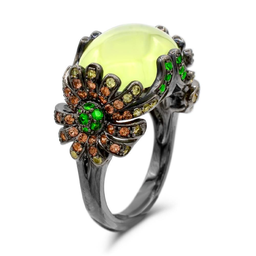Cabochon Prehnite with Tsavorite and Yellow Orange Sapphire Cocktail Ring in Sterling Silver - For The Love of Jewelry
