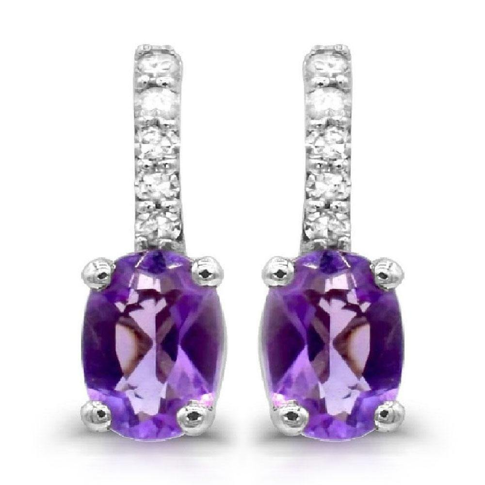 Oval Amethyst with Diamond Drop Earrings in 10K White Gold - For The Love of Jewelry