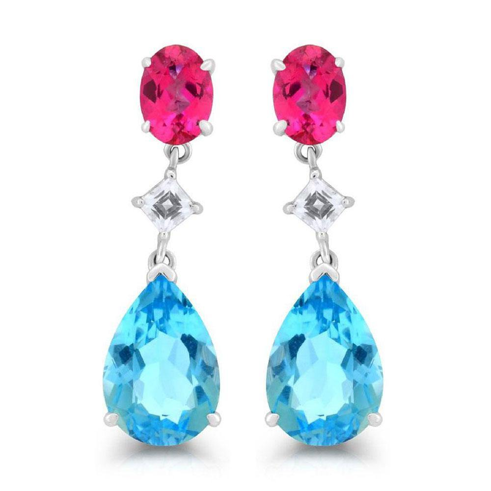 Blue, White and Pink Topaz Dangle Earrings in Sterling Silver - For The Love of Jewelry
