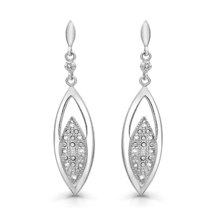 Diamond Dangling Earrings in Sterling Silver - For The Love of Jewelry