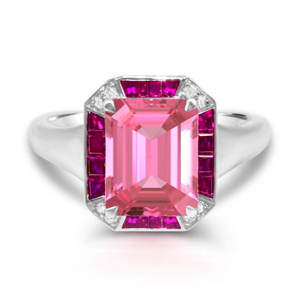 Octagon Pink Tourmaline with Ruby and Diamond Accent Ring in 14K White Gold - For The Love of Jewelry