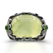 Load image into Gallery viewer, Cabochon Prehnite with Tsavorite and Yellow Orange Sapphire Cocktail Ring in Sterling Silver - For The Love of Jewelry