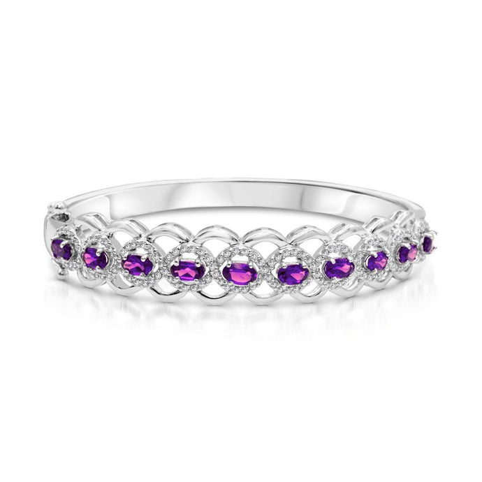Oval Amethyst with White Topaz Bangle Bracelet in Sterling Silver - For The Love of Jewelry