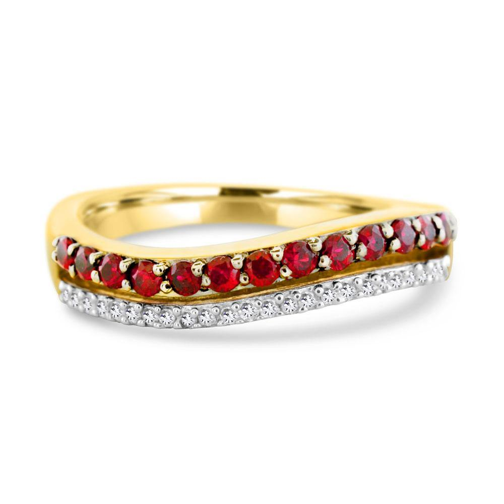 Round Ruby and Diamond Ring in 10K Yellow Gold - For The Love of Jewelry