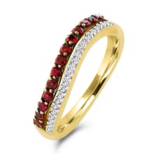 Load image into Gallery viewer, Round Ruby and Diamond Ring in 10K Yellow Gold - For The Love of Jewelry