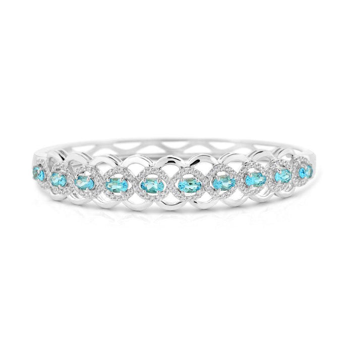 Oval Blue Topaz with White Topaz Bangle Bracelet in Sterling Silver - For The Love of Jewelry