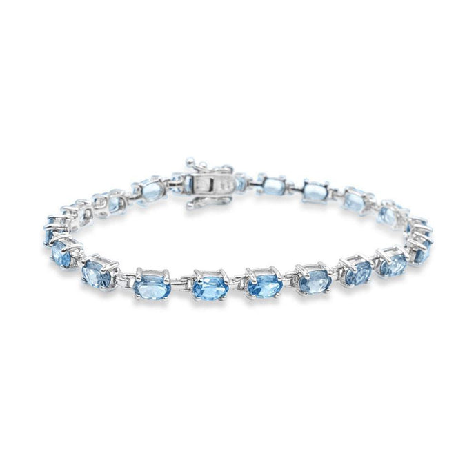 Oval Sky Blue Topaz Tennis Bracelet in Sterling Silver - For The Love of Jewelry