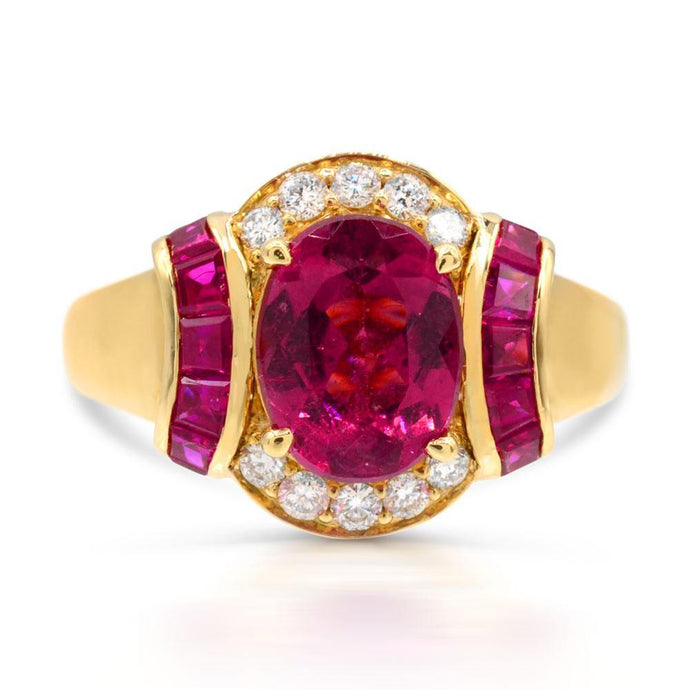Rubellite with Ruby and Diamond  Ring in 14K Yellow Gold - For The Love of Jewelry