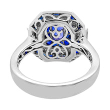 Load image into Gallery viewer, Octagon Ceylon Sapphire with Blue Sapphire, White Sapphire and Diamond Accent Ring in 14K White Gold - For The Love of Jewelry
