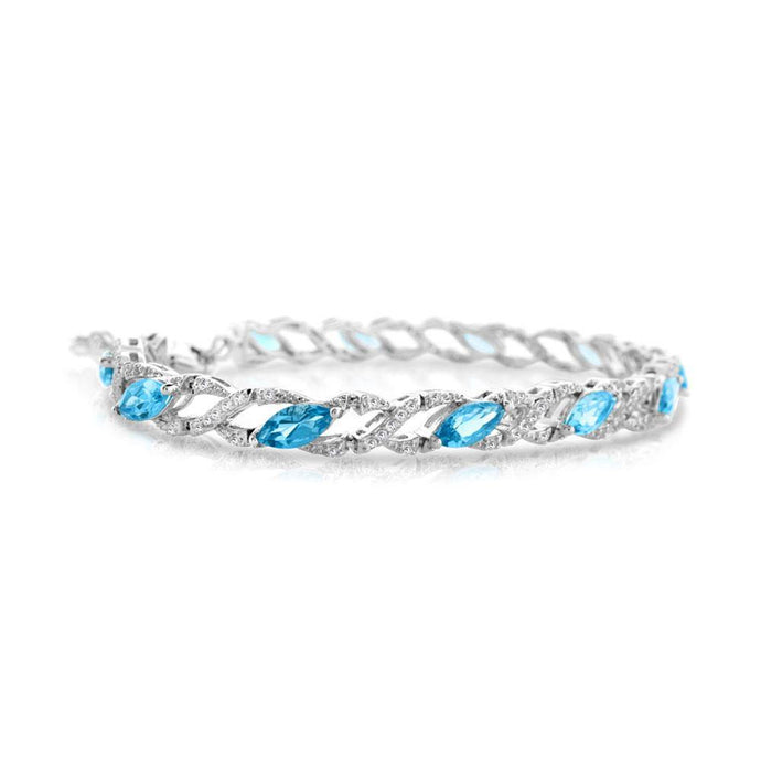 Marquise Blue Topaz and Round White Topaz Bracelet in Sterling Silver - For The Love of Jewelry