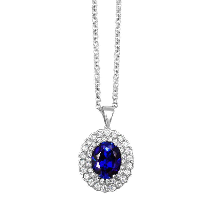 Oval Created Sapphire &  1 CT T.W.  Man-made Diamond Halo Pendant in Sterling Silver - For The Love of Jewelry