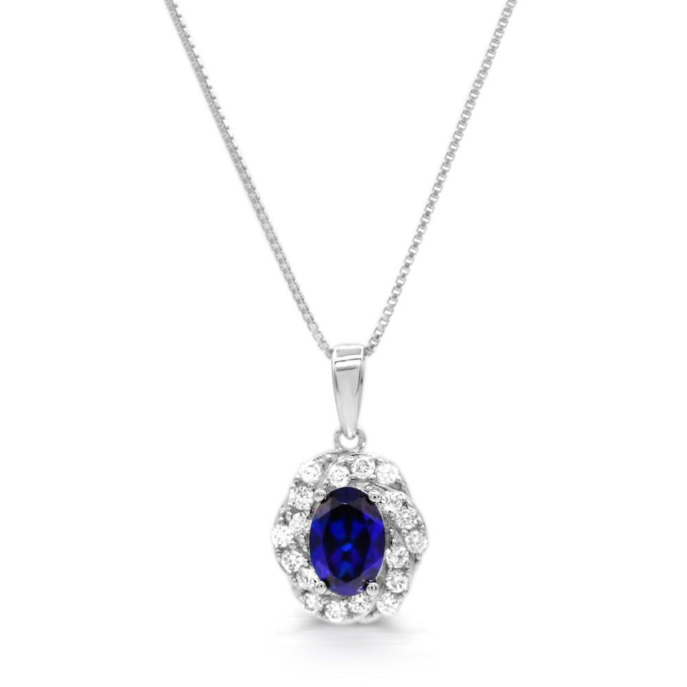 Oval Created Sapphire & 1/3 CT. T.W. Man-made Diamond Halo Pendant in Sterling silver - For The Love of Jewelry