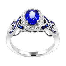 Load image into Gallery viewer, Oval Blue Sapphire with Diamond and Baguette Blue Sapphire Ring in 14K White Gold - For The Love of Jewelry