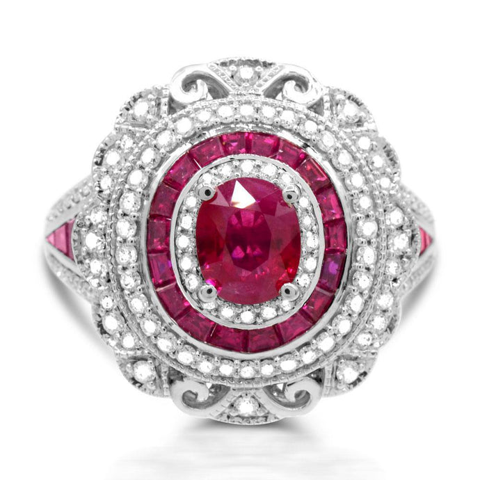 Oval Ruby with Diamond and Ruby Accent Ring in 14K White Gold - For The Love of Jewelry