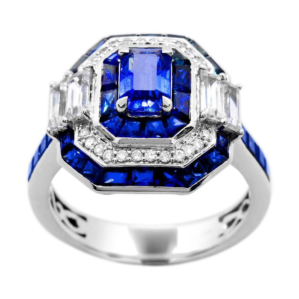 Octagon Ceylon Sapphire with Blue Sapphire, White Sapphire and Diamond Accent Ring in 14K White Gold - For The Love of Jewelry
