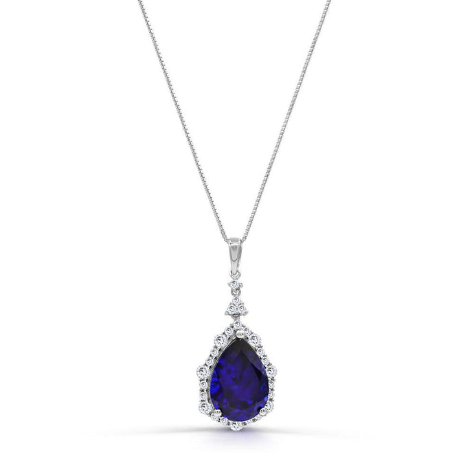 Pear Created Sapphire with 3/4 CT. T.W. Man-made Diamond Pendant in Sterling silver - For The Love of Jewelry