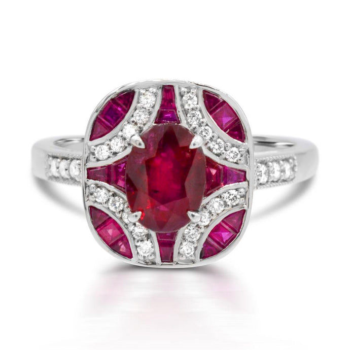 Oval Ruby and Diamond Accent Ring in 14K White Gold - For The Love of Jewelry