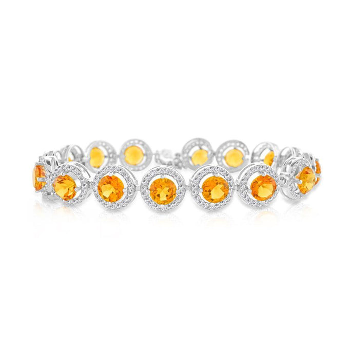Round Citrine and White Topaz Bracelet in Sterling Silver - For The Love of Jewelry