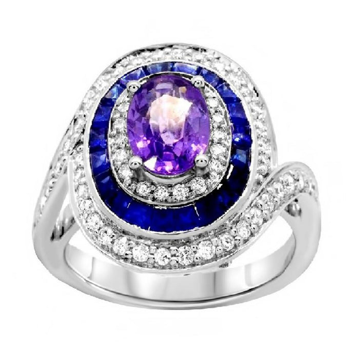 Oval Purple Sapphire with Blue Sapphire and Diamond Ring in 14K White Gold - For The Love of Jewelry