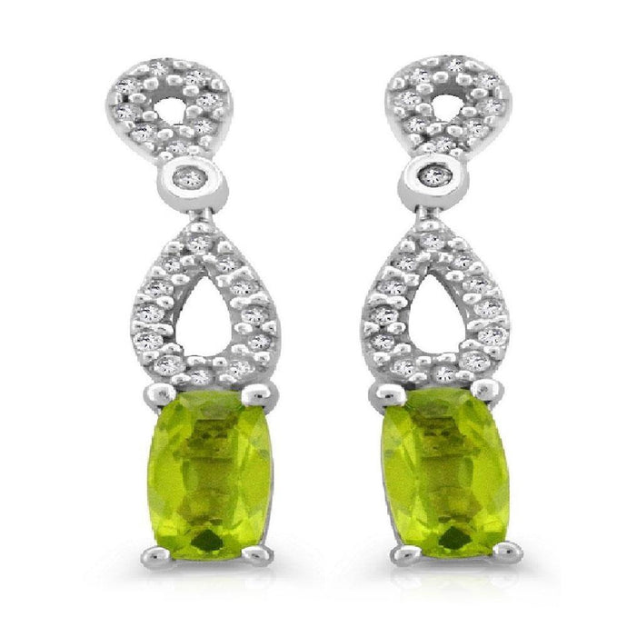 Cushion Peridot and Diamond Accent Drop Earrings in 10K White Gold - For The Love of Jewelry