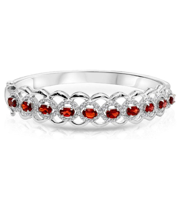 Oval Garnet with White Topaz Bangle Bracelet in Sterling Silver - For The Love of Jewelry