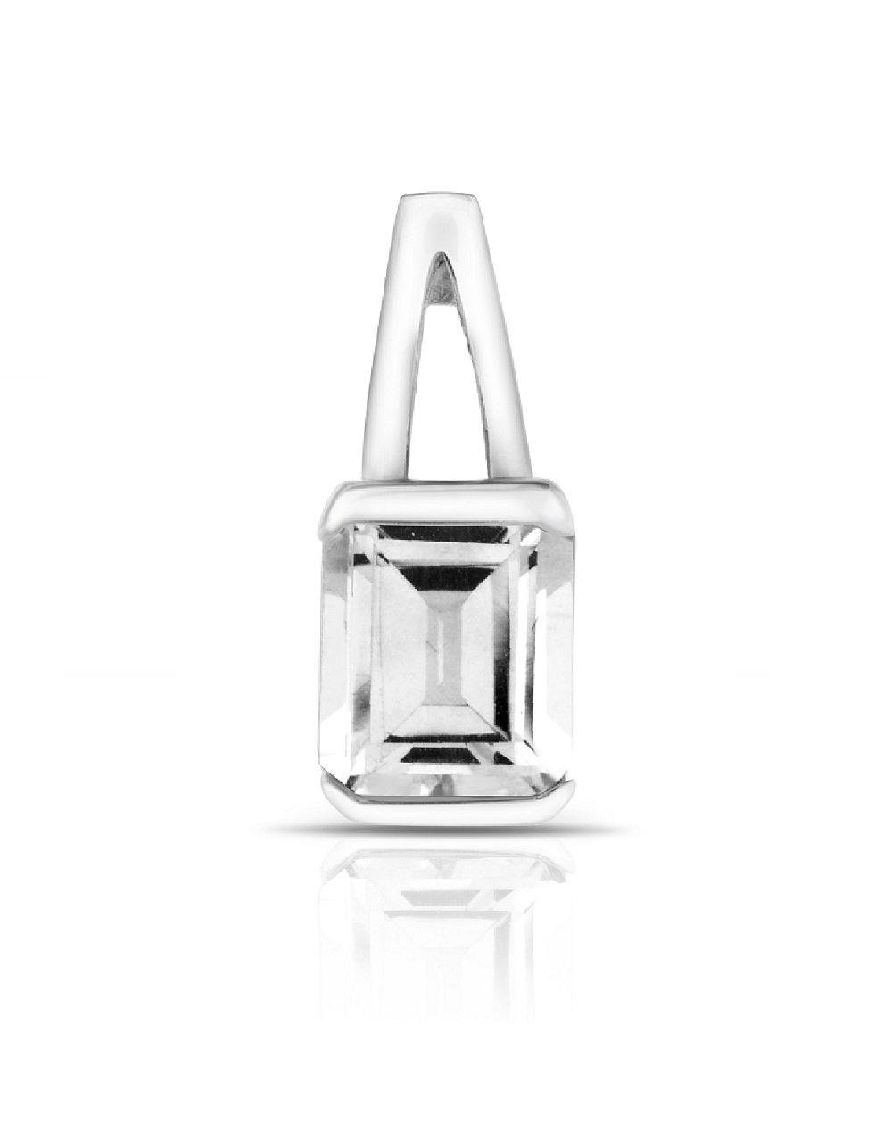 Solitaire White Topaz Pendant with Chain in Sterling Silver - For The Love of Jewelry