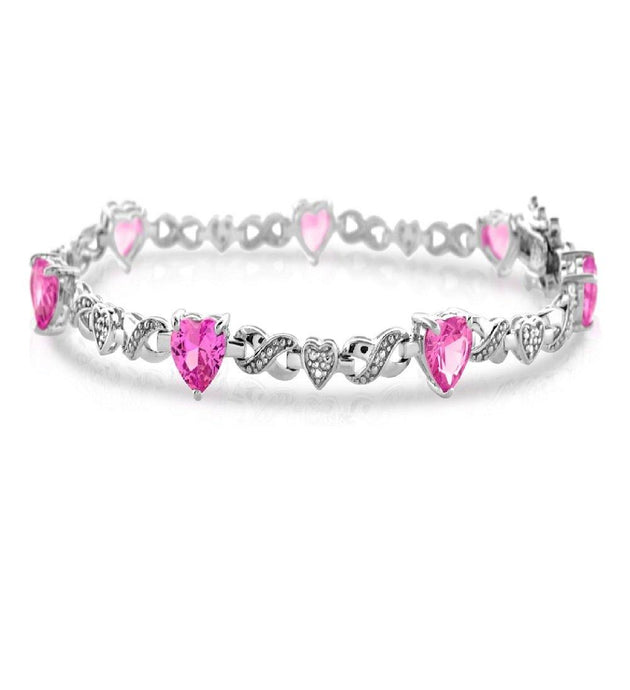 Heart Created Pink Sapphire and Diamond Bracelet in Sterling Silver - For The Love of Jewelry