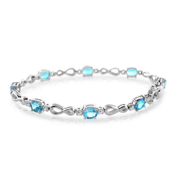 Oval Sky Blue And White Topaz Infinity Tennis Bracelet in Sterling Silver - For The Love of Jewelry