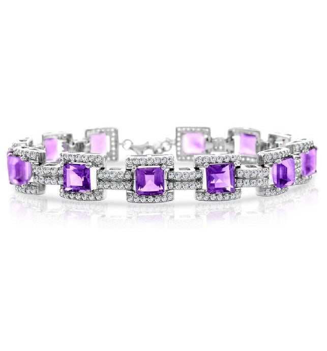 Square Amethyst with White Topaz Bracelet in Sterling Silver - For The Love of Jewelry