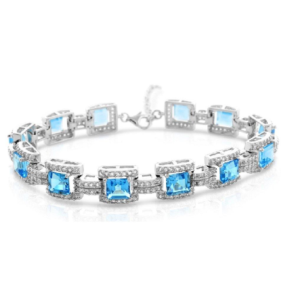 Square Blue Topaz with White Topaz Bracelet in Sterling Silver - For The Love of Jewelry
