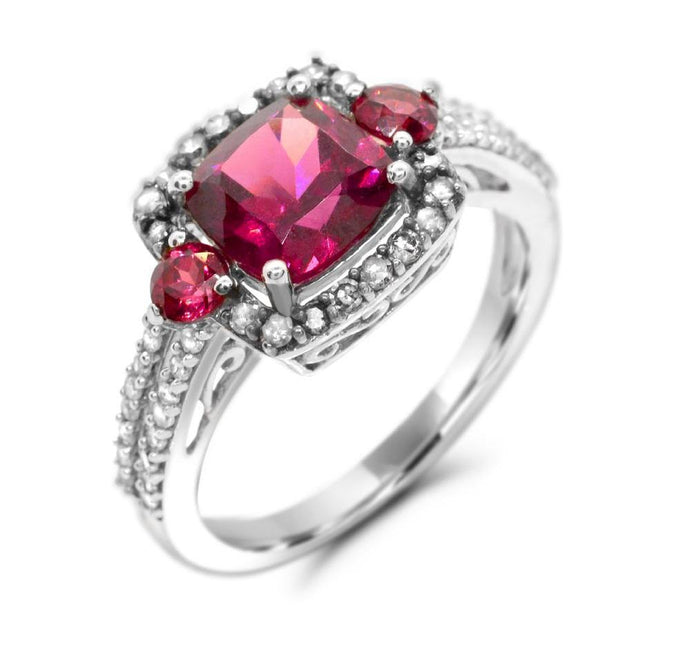 Cushion Rhodolite Garnet Ring Halo Ring in Sterling Silver - For The Love of Jewelry