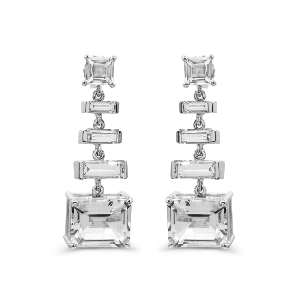 Baguette White Quartz Ladder Dangle Earrings in Sterling silver