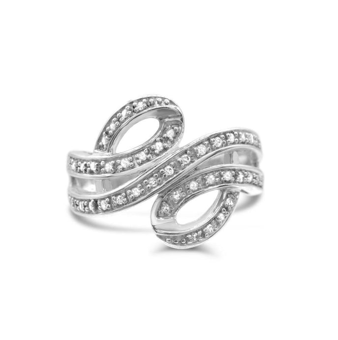 Diamond 1/5 TDW Swirl Ring in Sterling silver - For The Love of Jewelry