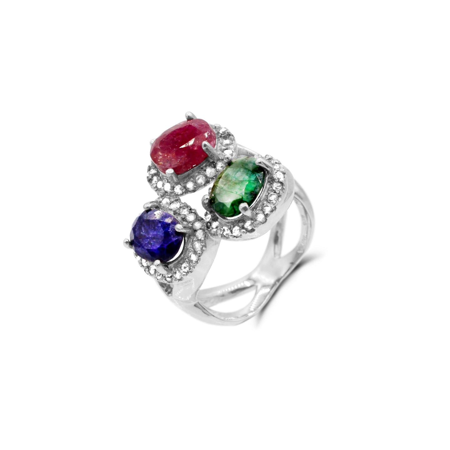 Multi Gemstone Ring in Sterling Silver - For The Love of Jewelry