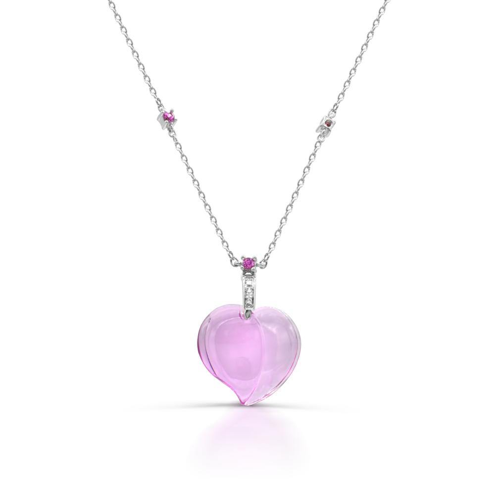 Heart Curved Created Pink Sapphire Necklace - For The Love of Jewelry