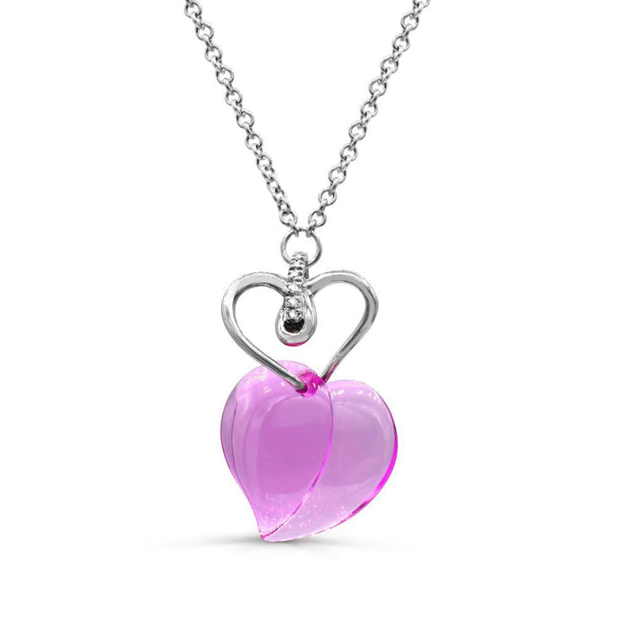 Lab-Created Pink Sapphire with diamond accent heart necklace in Sterling silver - For The Love of Jewelry