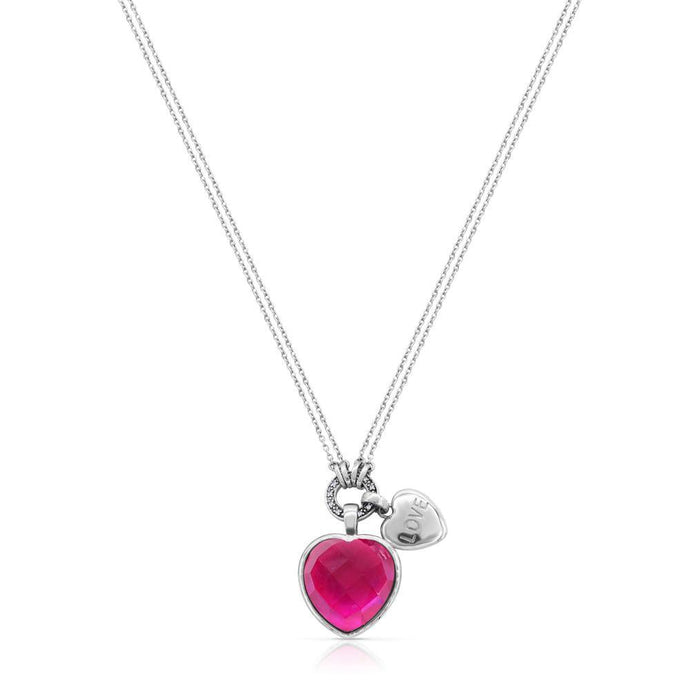 Heart Created Pink Sapphire and Diamond Heart with Charm Necklace - For The Love of Jewelry