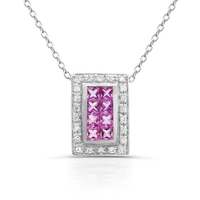 Princess-cut Pink Sapphire and Diamond (1/10 TDW) Pendant in 14K White Gold - For The Love of Jewelry