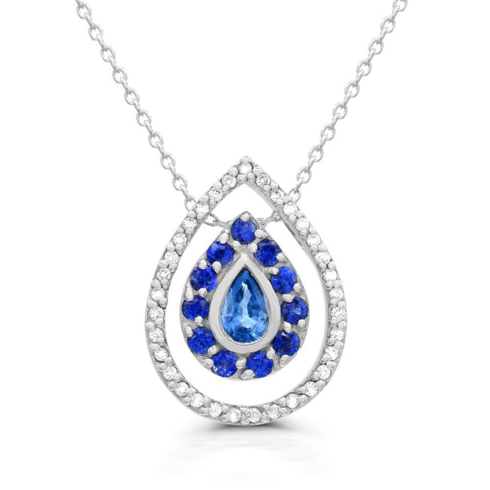 Blue Sapphire and Diamond (1/5 TDW) Double drop Pendant in 14K White gold - For The Love of Jewelry
