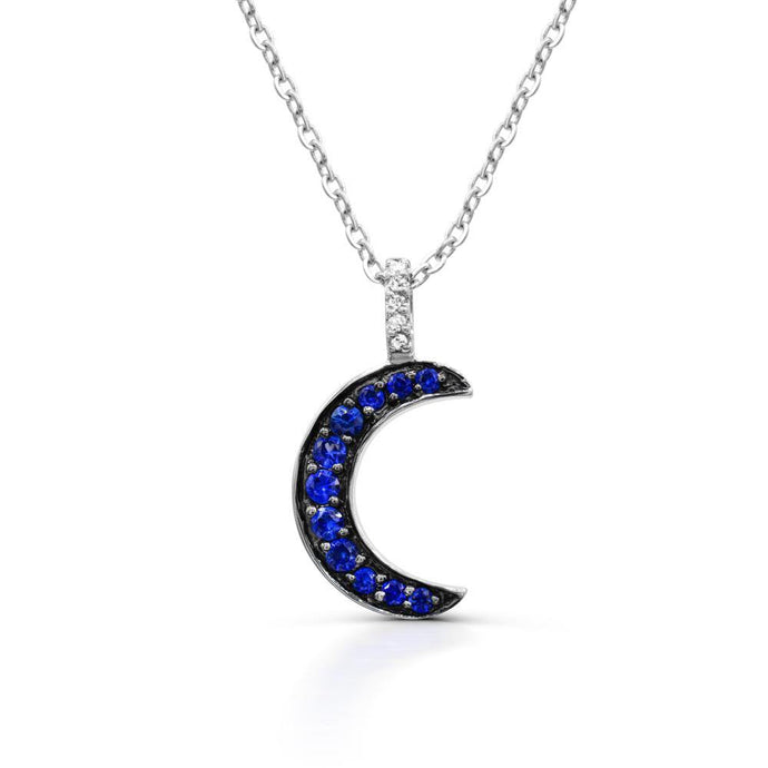 Lab Create Blue Sapphire and Diamond (1/20 TDW) accent Pendant in 10K White Gold - For The Love of Jewelry