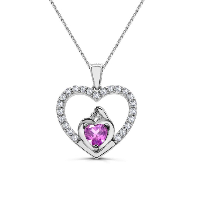 Heart Lab-Created Pink Sapphire Mother and Son heart Pendant in Sterling silver - For The Love of Jewelry