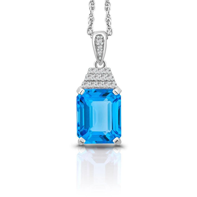 Octagonal Swiss Blue and Diamond Pendant in Sterling silver - For The Love of Jewelry