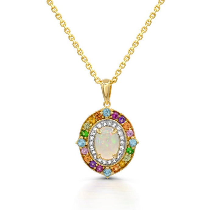 Opal with Diamond Frame and multi color gemstone Pendant in yellow gold over sterling silver - For The Love of Jewelry