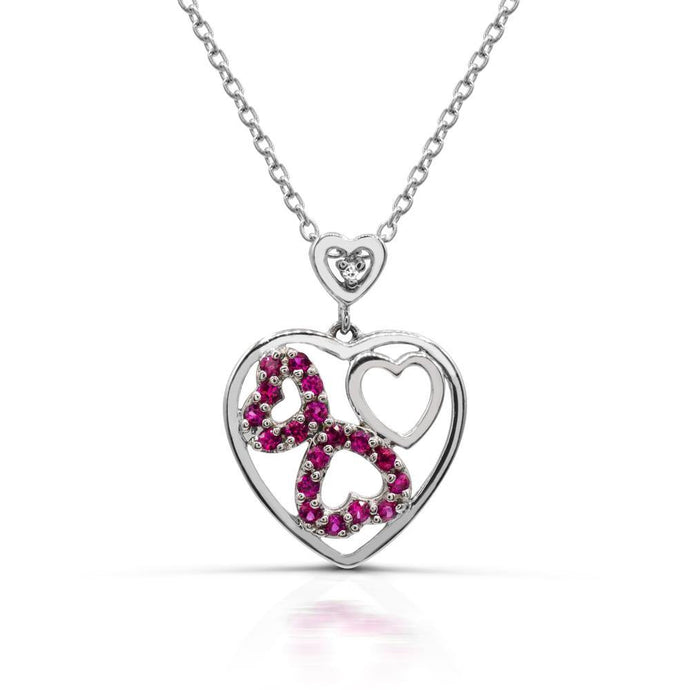Round Lab Created Ruby Cut-out Heart Pendant in Sterling silver - For The Love of Jewelry